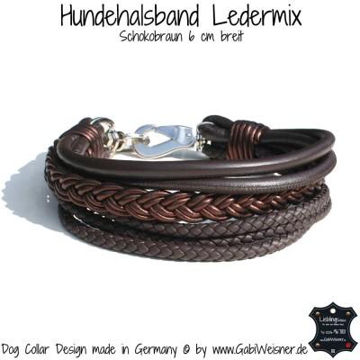 Hundehalsband Ledermix 6 cm breit