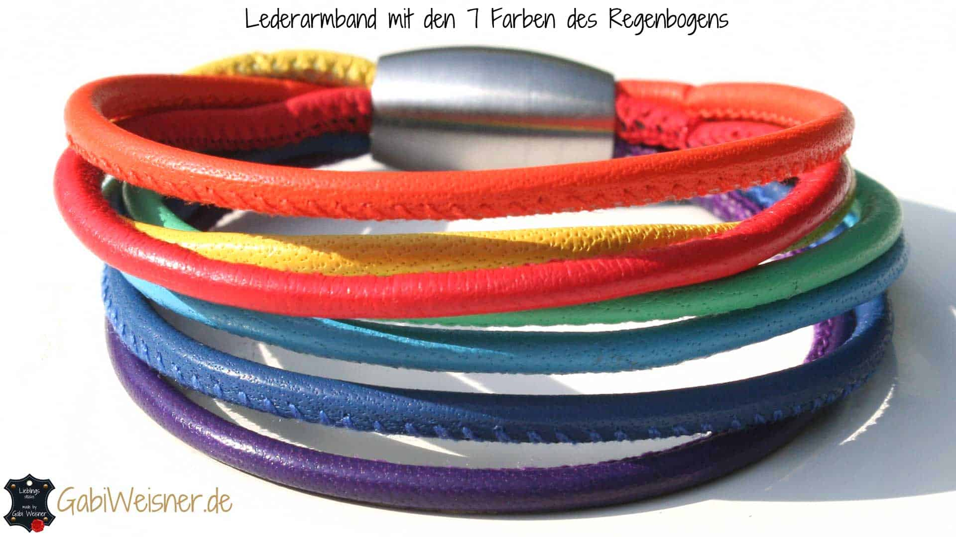 lederarmband regenbogen festival in kinder oder in bergr e. Black Bedroom Furniture Sets. Home Design Ideas