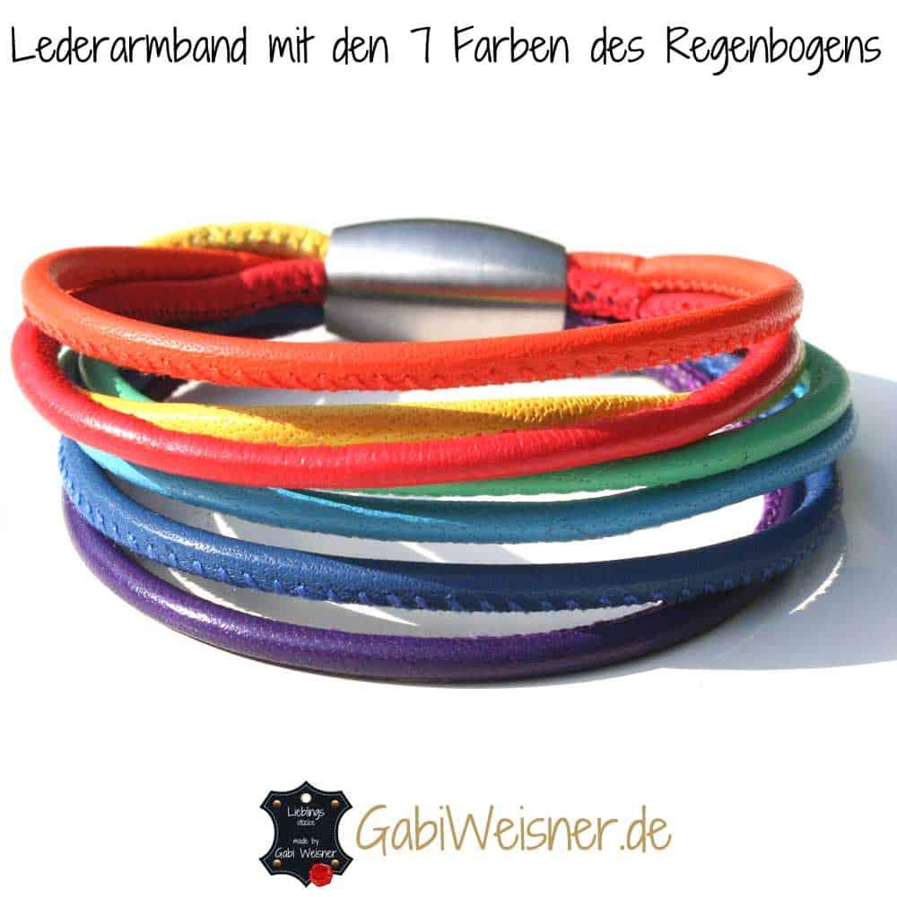 Lederarmband Regenbogen Festival
