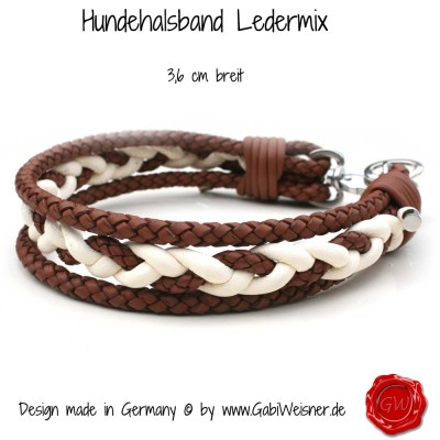 Hundehalsband Ledermix in Elfenbeinfarben