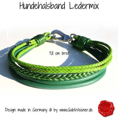Hundehalsband Ledermix in Grün