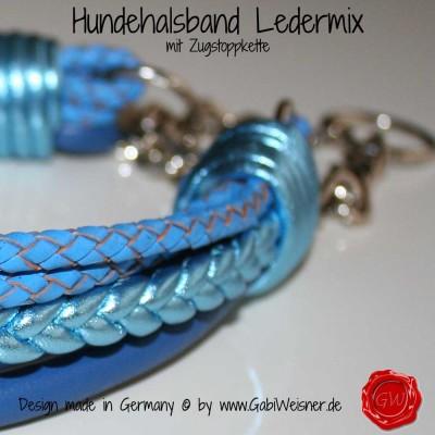 Hundehalsband Ledermix in Blau