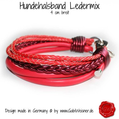 Hundehalsband Ledermix in Rot