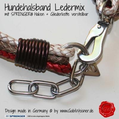 Hundehalsband Ledermix in Petrol