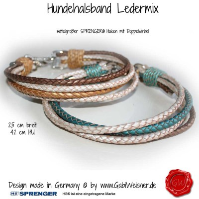 Hundehalsband-Rindleder-metallic-geflochten-2