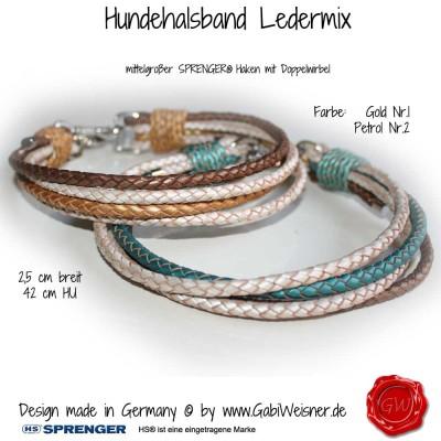 Hundehalsband-Rindleder-metallic-geflochten-4