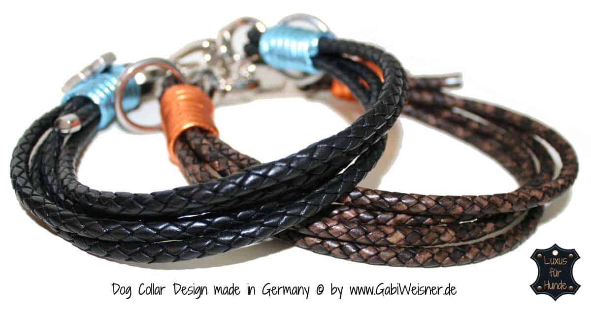 Hundehalsband Leder Antikbraun 2,5cm / 3,5cm breit, mit Brummelhaken