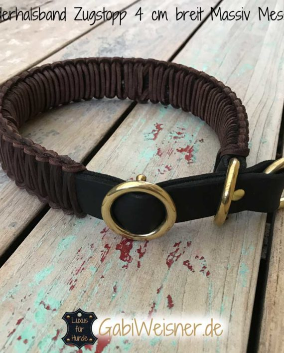 Hundehalsband Leder Zugstopp 4 cm breit, Massiv Messing