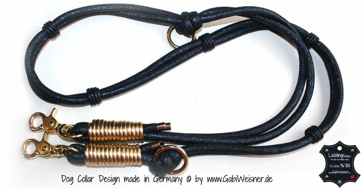 Luxus Hundeleine Leder Dunkelblau-Gold