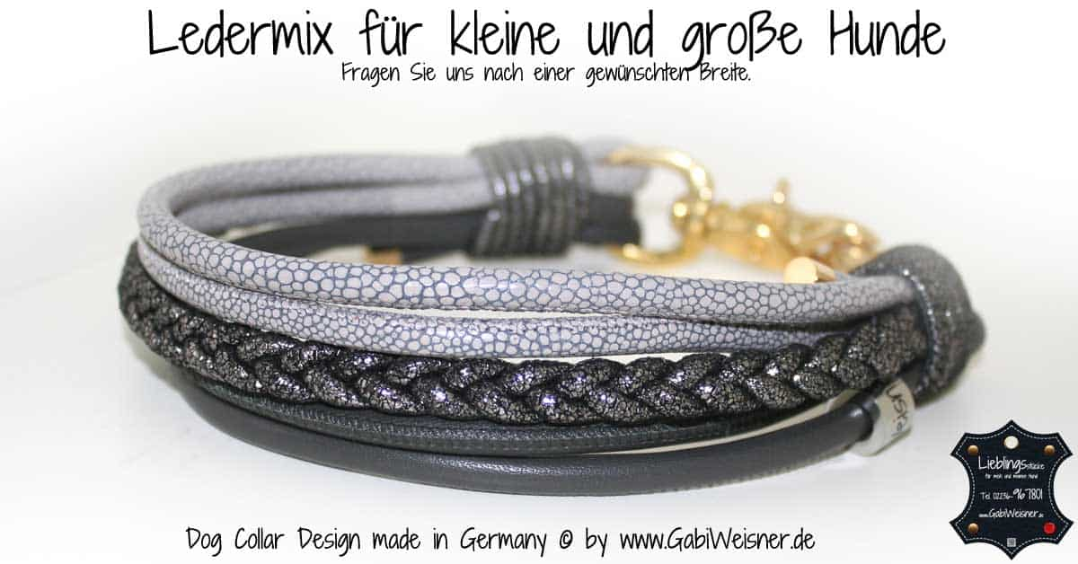 Hundehalsband Leder Mix in Carbon und Grau