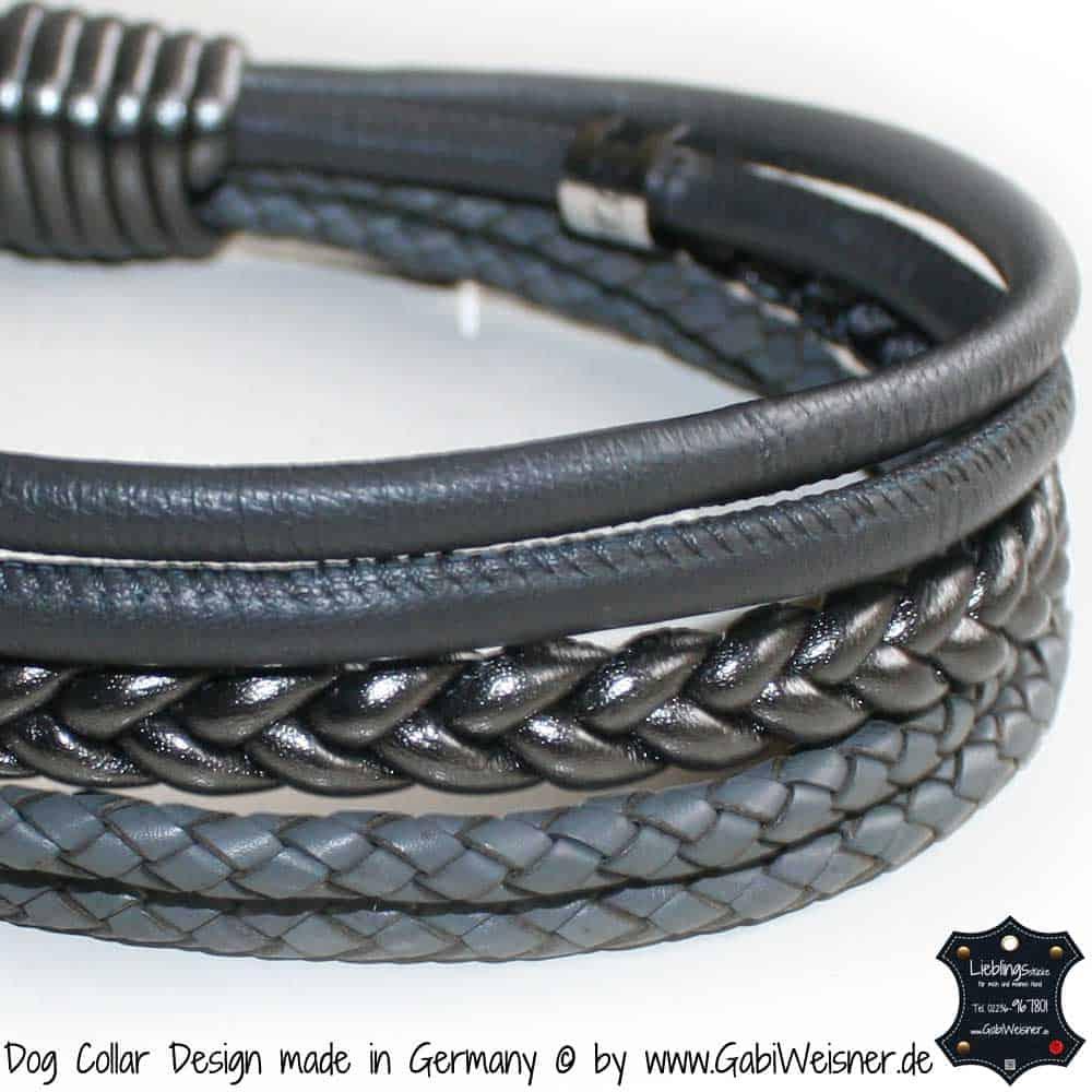 Hundehalsband-Ledermix-Carbon-Grau-1
