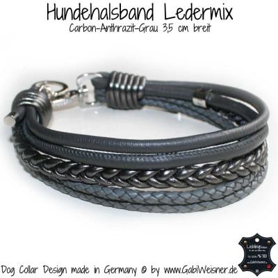 Hundehalsband Ledermix in Carbon und Grau