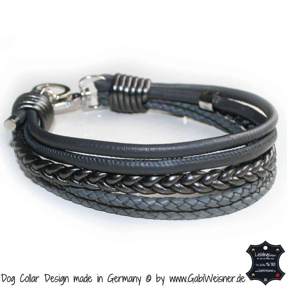 Hundehalsband-Ledermix-Carbon-Grau-3