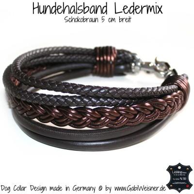 Hundehalsband Ledermix 5 cm breit