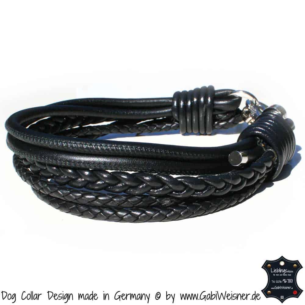 Hundehalsband-Ledermix-Schwarz-1
