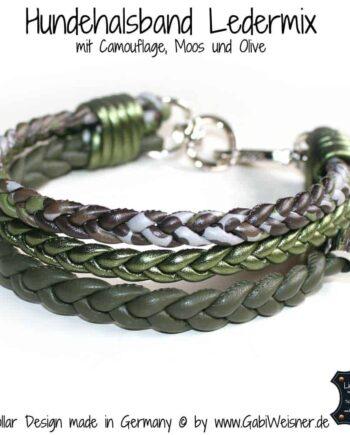Hundehalsband Camouflage im Leder Mix