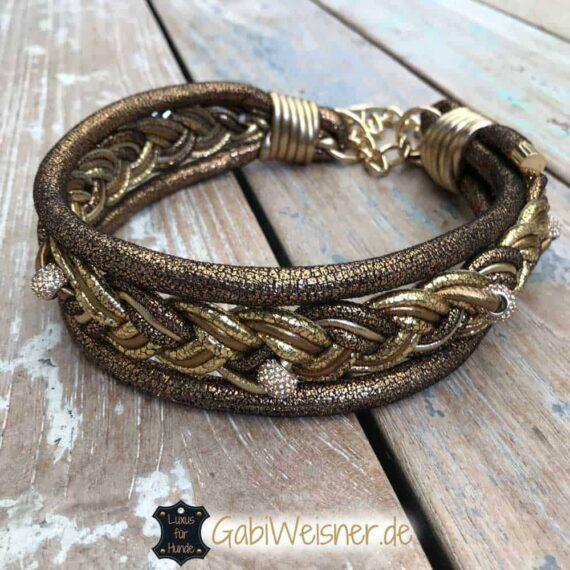 Hundehalsband Leder Goldstück 5 cm breit
