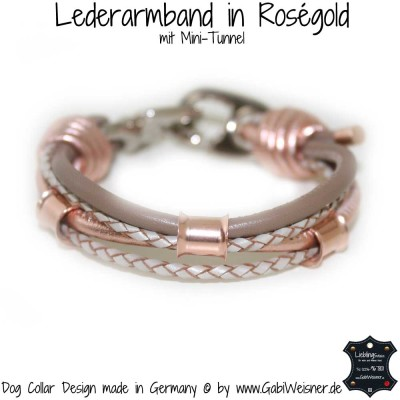 Lederarmband in Roségold mit Mini-Tunnel