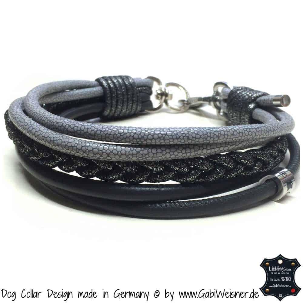 Hundehalsband-Ledermix-Grau