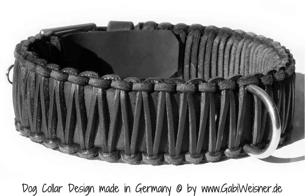 Hundehalsband Leder 5 cm breit geflochten, verstellbar