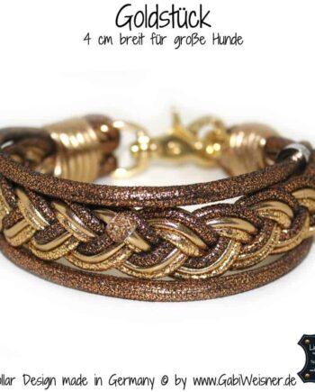 Hundehalsband-Leder Goldstück