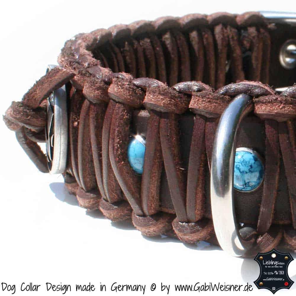 Hundehalsband-Leder-Braun-türkise-Sterne-1