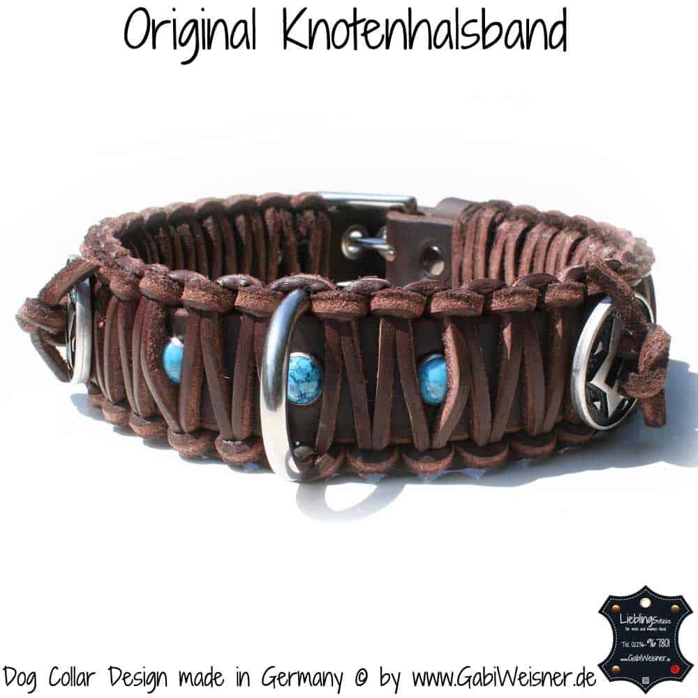 Hundehalsband-Leder-Braun-türkise-Sterne-2