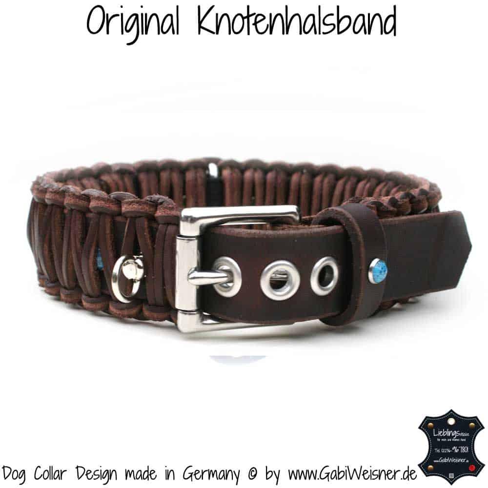 Hundehalsband-Leder-Braun-türkise-Sterne-4