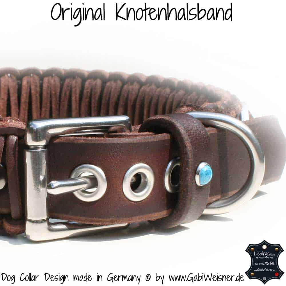 Hundehalsband-Leder-Braun-türkise-Sterne-6