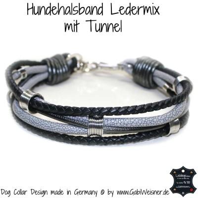 Hundehalsband Leder Mix mit Tunnel