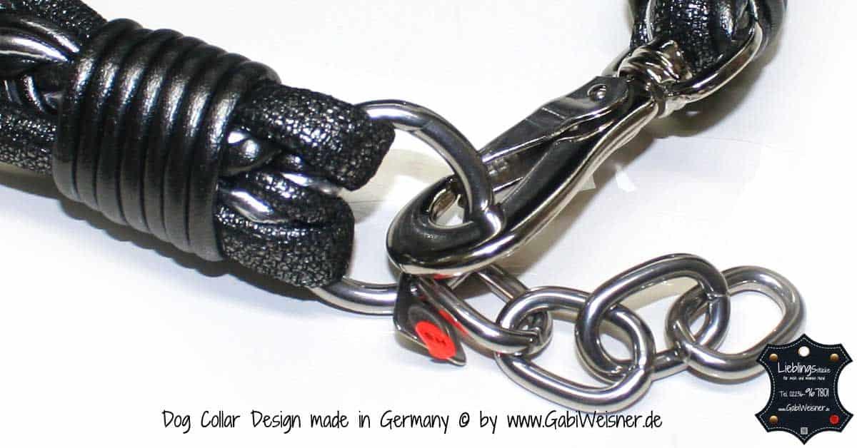 Hundehalsband Ledermix 4,5 cm breit