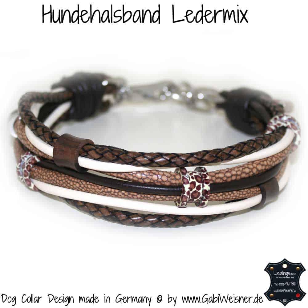 Hundehalsband-Ledermix-Braun-Beige-2