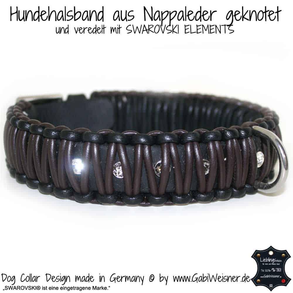 Hundehalsband aus Nappaleder geknotet