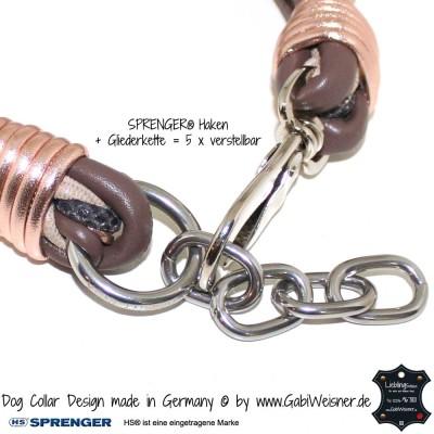 Hundehalsband Leder mix in Türkis - für kleine Hunde Nappaleder in türkistönen ca. 3 cm breit geflochten, dekoriert mit 3 hochwertigen Strassperlen, mit Edelstahl-Endkappen, alle Lederbänder haben einen reißfesten weichen Baumwollkern. starker Halt mit SPRENGER® Haken und Gliederkette = 4 x verstellbar