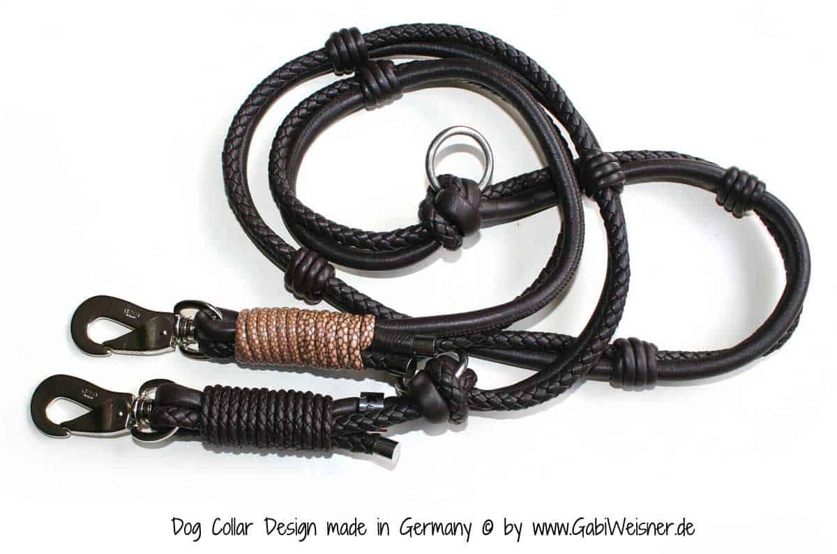 Luxus Hundeleine Doppelstrang im Leder Mix je 8 mm Ø