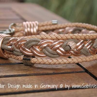 Hundehalsband Leder geflochten rosegold beige
