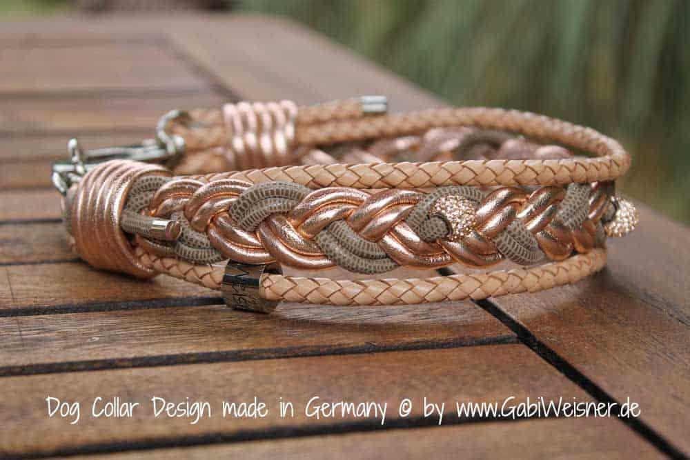 Hundehalsband-Leder-geflochten-rosegold-beige-strass