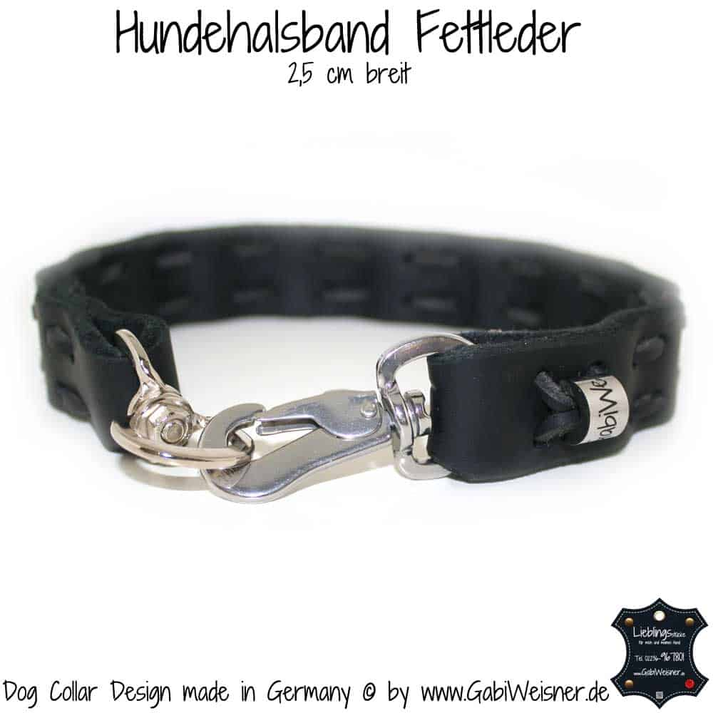 hundehalsband fettleder 2 5 cm breit schwarz 3 hundehalsband leder luxus f r hunde. Black Bedroom Furniture Sets. Home Design Ideas