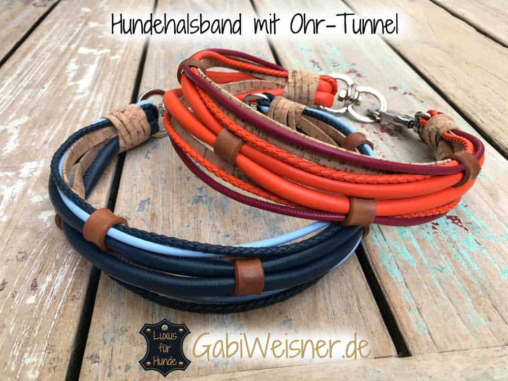 Hundehalsband Leder Mix mit Ohr-Tunnel für große Hunde
