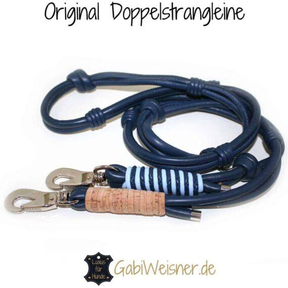 Hundeleine Leder Blau mit Kork