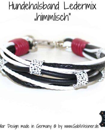 Hundehalsband Leder Mix in Schwarz-Weiß