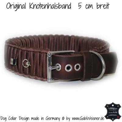 Hundehalsband Leder 5 cm breit geflochten
