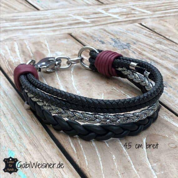 Luxus Hundehalsband. Leder Mix 4,5 cm breit. Für große Hunde