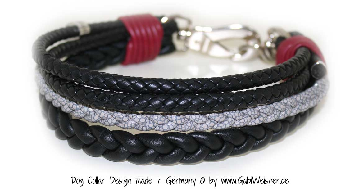 Luxus Hundehalsband schwarz rot grau