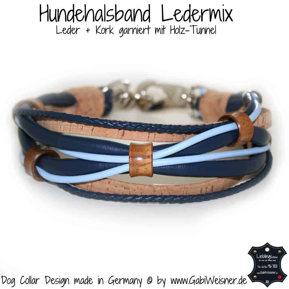 Hundehalsband-Ledermix-blau-kork-holz-tunnel