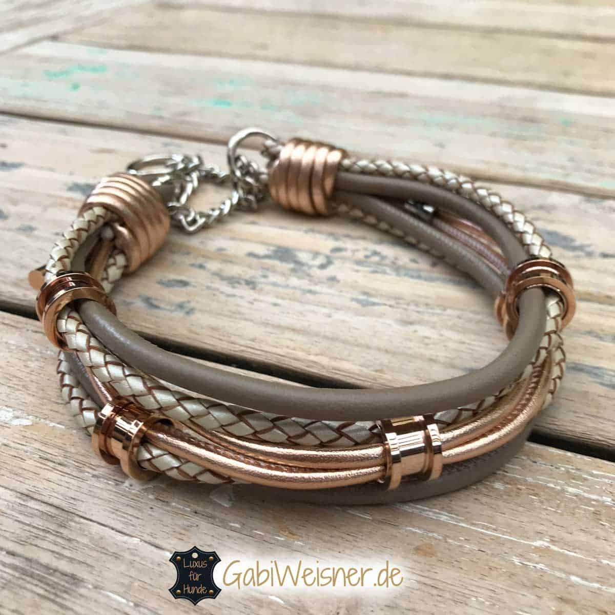 Hundehalsband mit 5 Tunnel in Rosegold