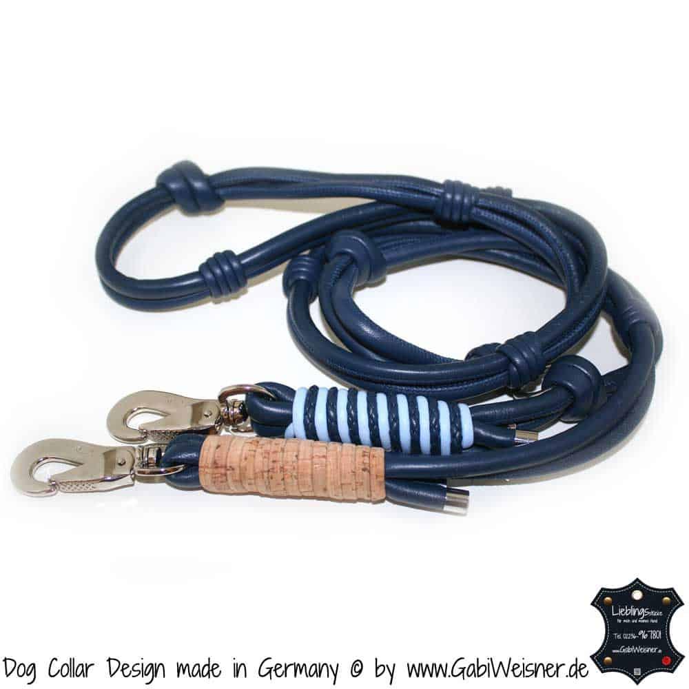 Hundeleine in Blau mit Kork