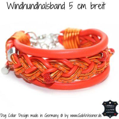 Hundehalsband 5 cm breit geflochten