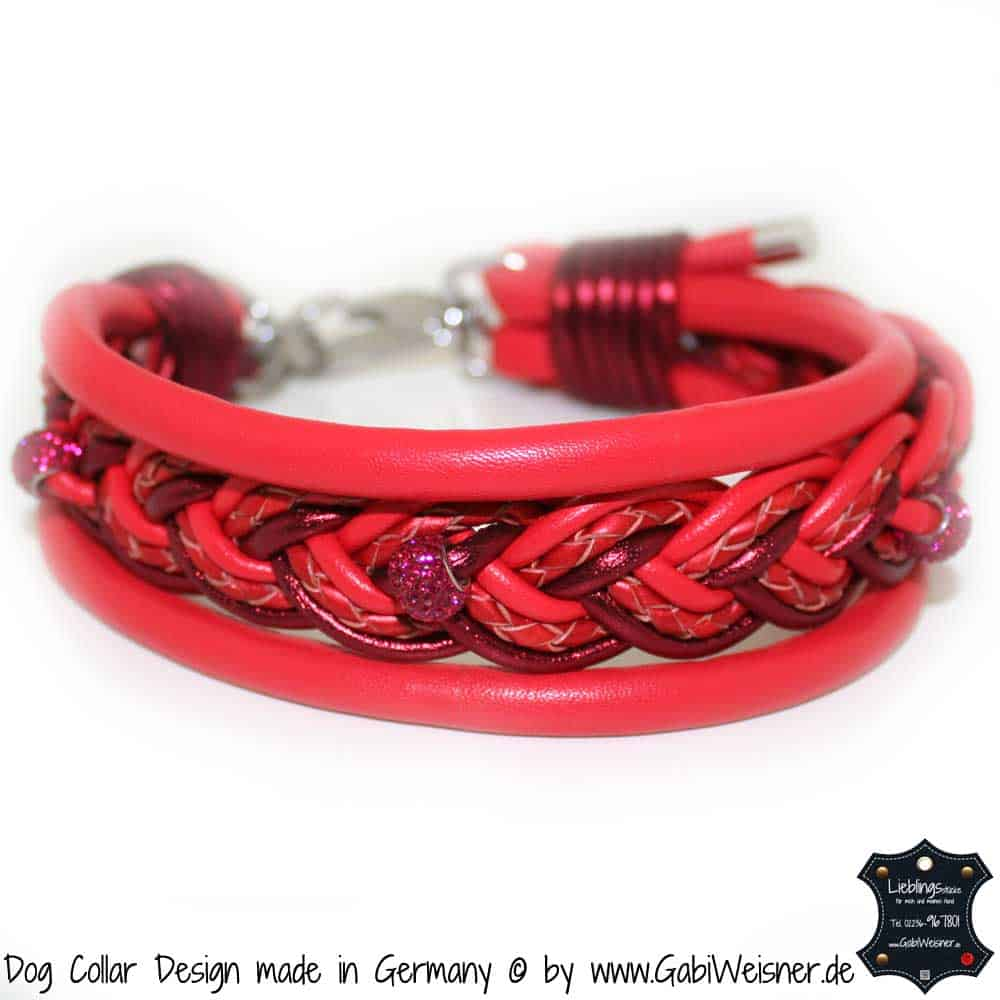 Hundehalsband-Ledermix-Rot-5-cm-breit-2