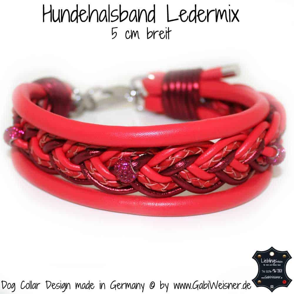 Hundehalsband-Ledermix-Rot-5-cm-breit-3